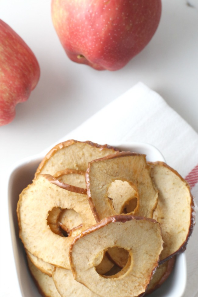 homemade apple chips make great picky eater snacks - apple chips shown with apples
