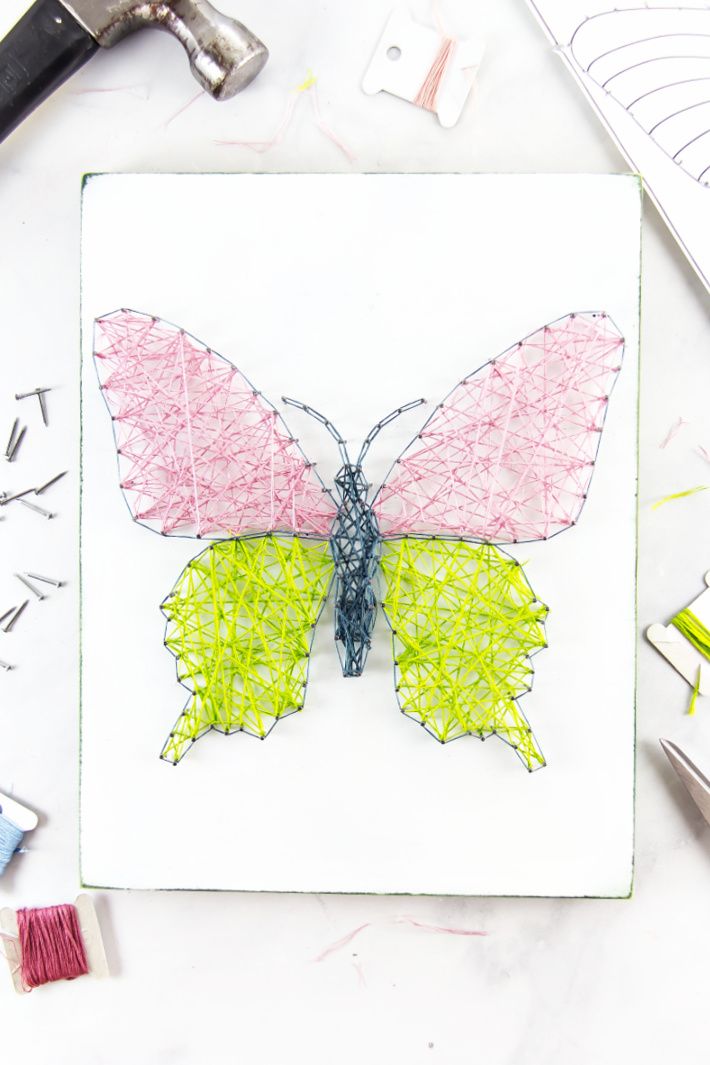 Butterfly String Art Patterns Using Coloring Pages