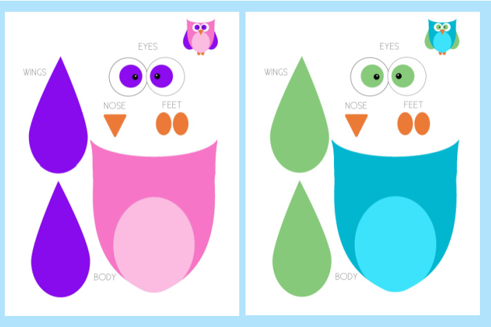 printable owl craft for kids from Kids Activities Blog - pdf of both color combinations shown