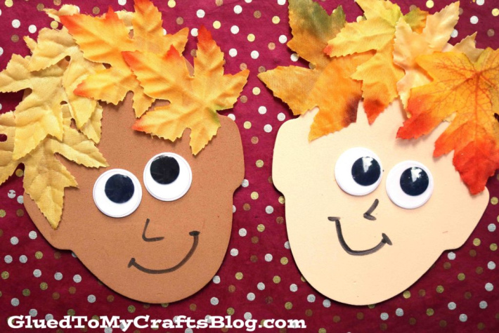 Leaf people with leaf hair from Glued to My crafts Blog