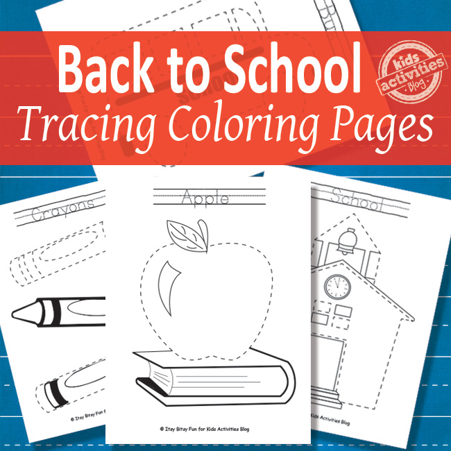 back to school tracing worksheets for kids that you can color - pdf versions of printed pages shown