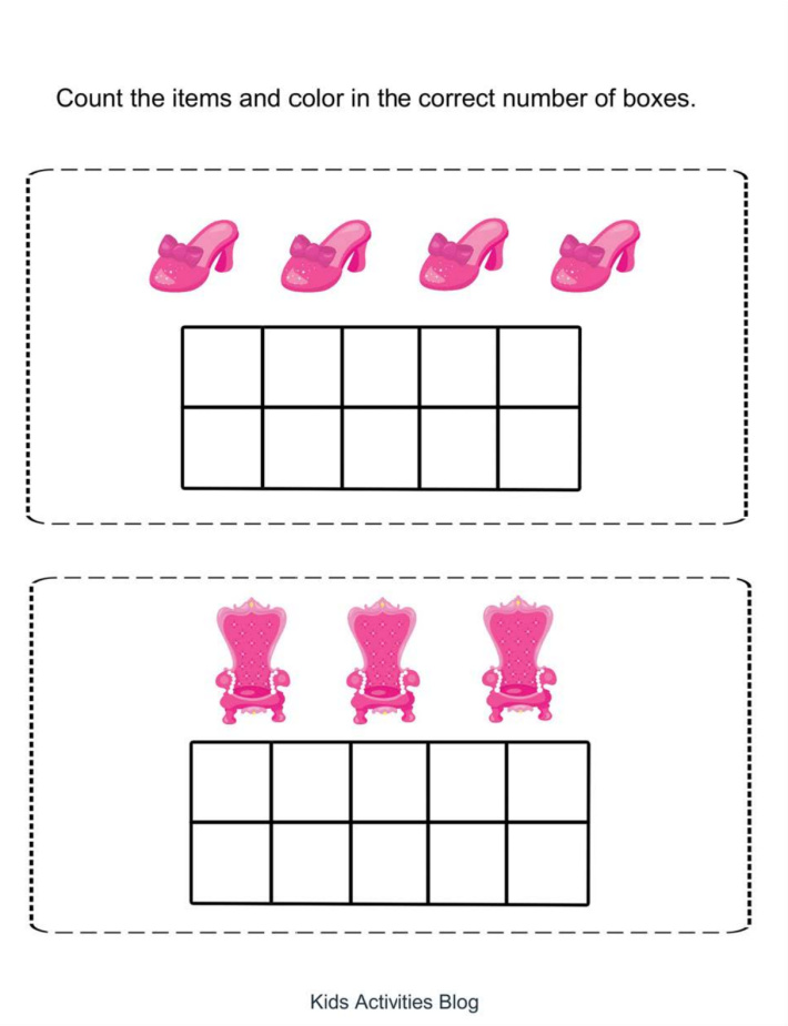 Counting practice pdf file shown as part of the preschool princess worksheet pack