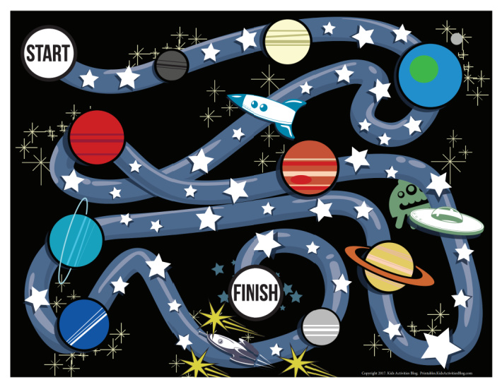 free printable board game for kids - galaxy game pdf shown
