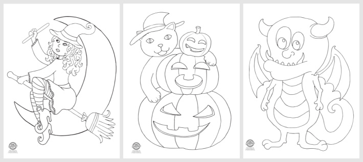 Free Printable Halloween Coloring Page Set - Kids activities Blog - 3 pdf files shown of a witch on a broom, black cat and pumpkin jack o lanterns and a Halloween monster