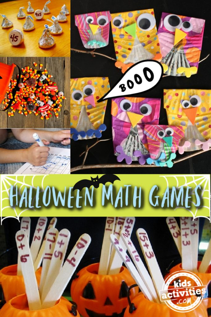 Halloween Math Games for Kids - Make and Play - Kids Activities Blog- 5 Halloween math games pictured