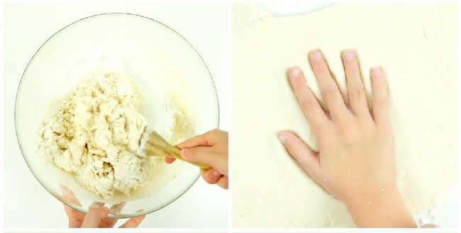 The first step in the salt dough handprint craft for kids is to make the salt dough and spread it out.