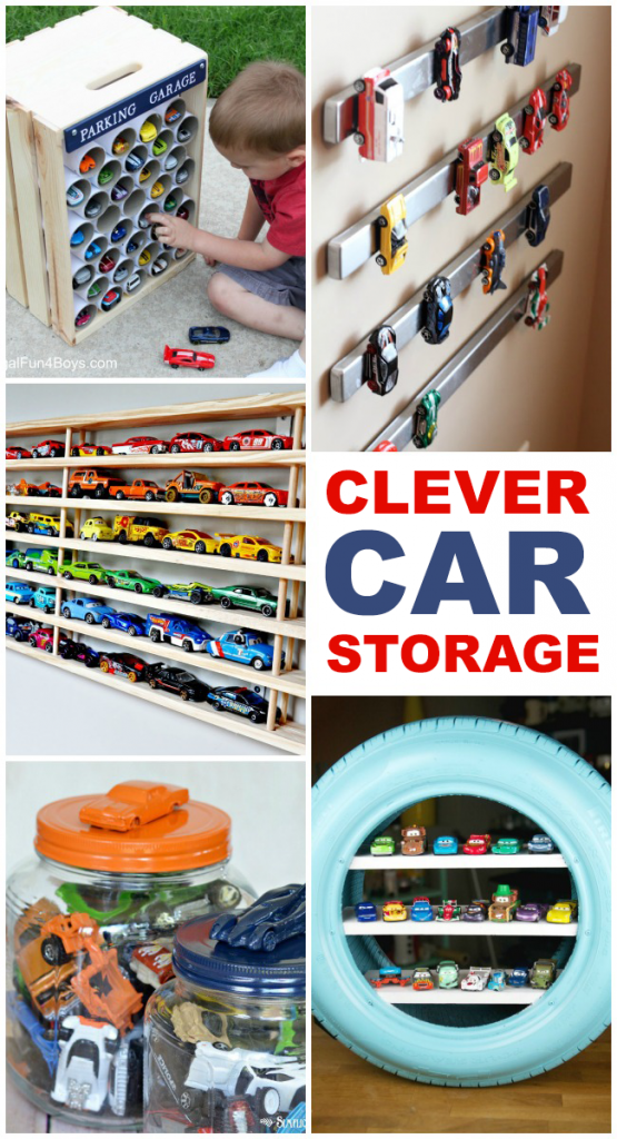 clever toy storage ideas for toy cars, hot wheels and creating toy car garage areas for little girls and little boys - 5 toy cars storage ideas shown from using toilet paper rolls to hanging on magnets on the wall