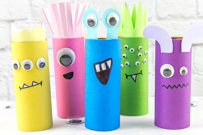 These toilet paper roll monsters are fun for kids to make.