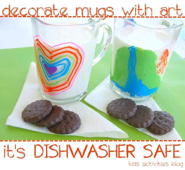 decorate mugs with art its dishwasher safe from kids activities blog - two sharpie decorated mugs