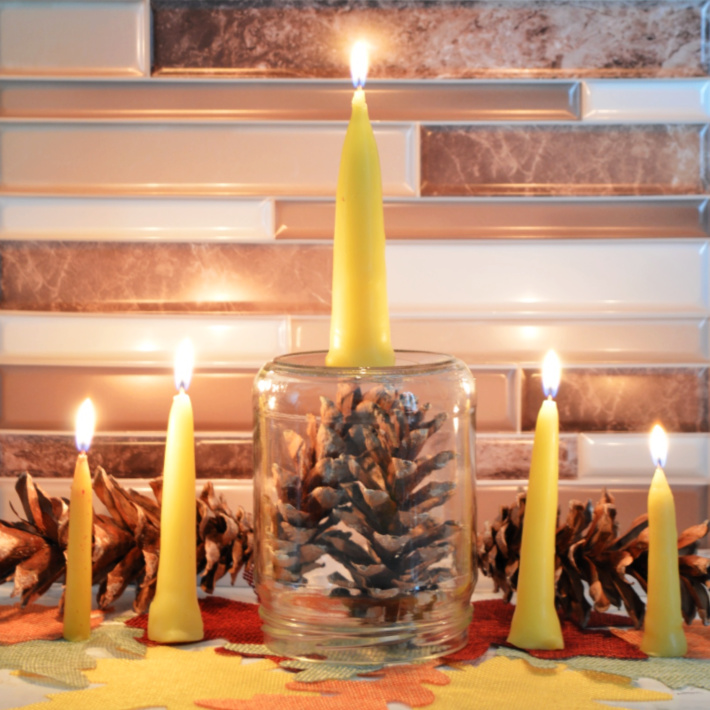 finished hand dipped candles - Kids Activities blog