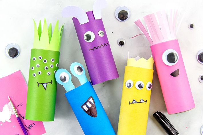 bright and colorful paper roll monster crafts for kids