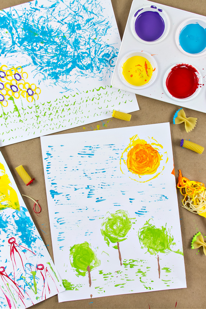 Pasta Art is the Perfect Messy Art Project for Preschoolers