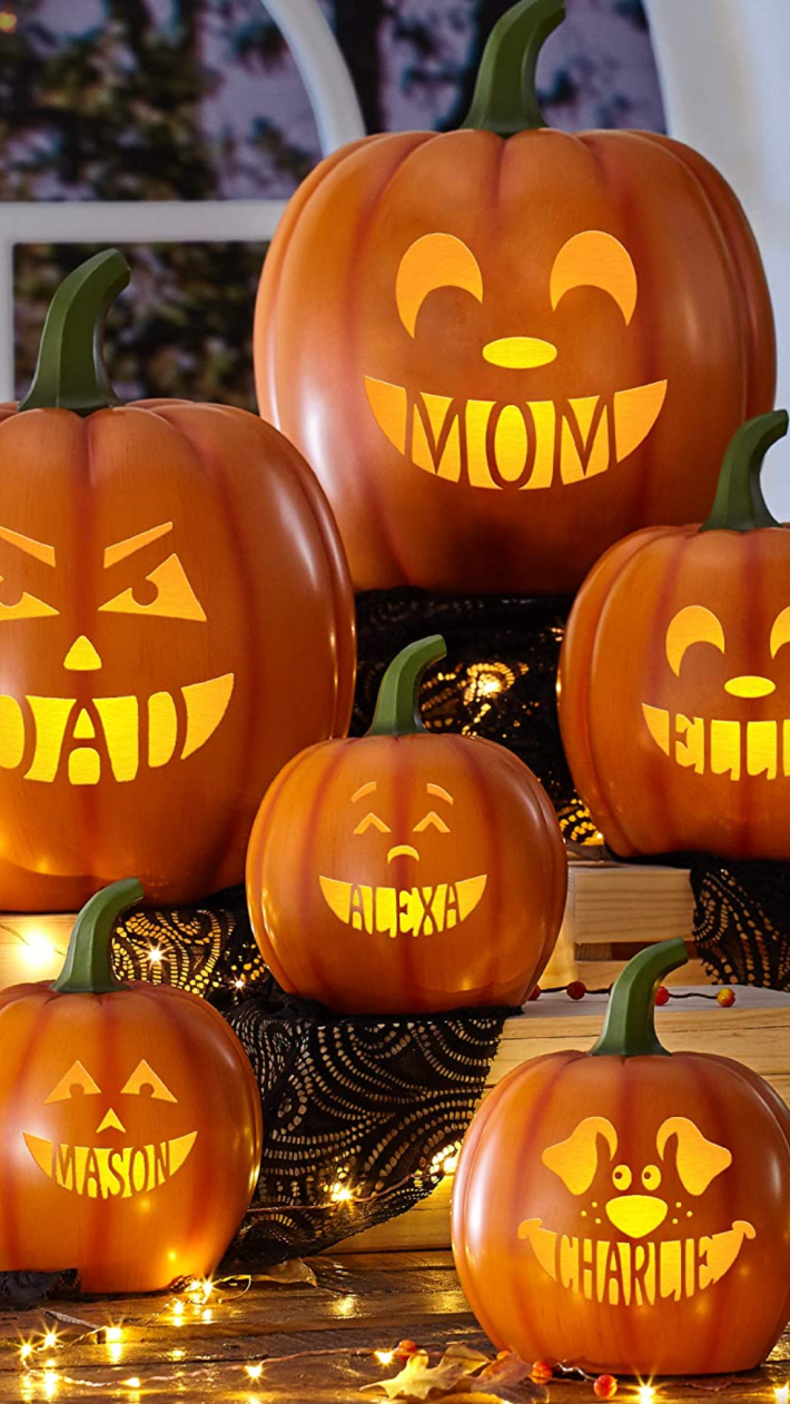 You Can Get Personalized Pumpkins That Light Up For The Entire Family Including The Dog