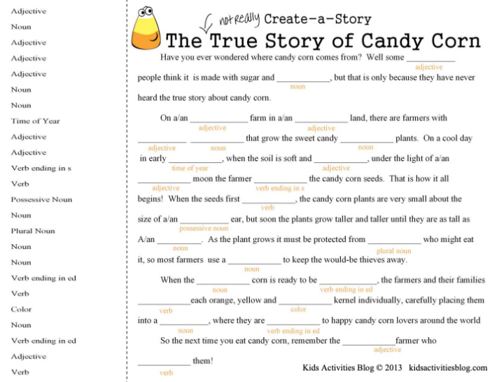 Halloween mad libs - candy corn themed mad libs puzzle for kids to fill in the blank of the story Halloween themed