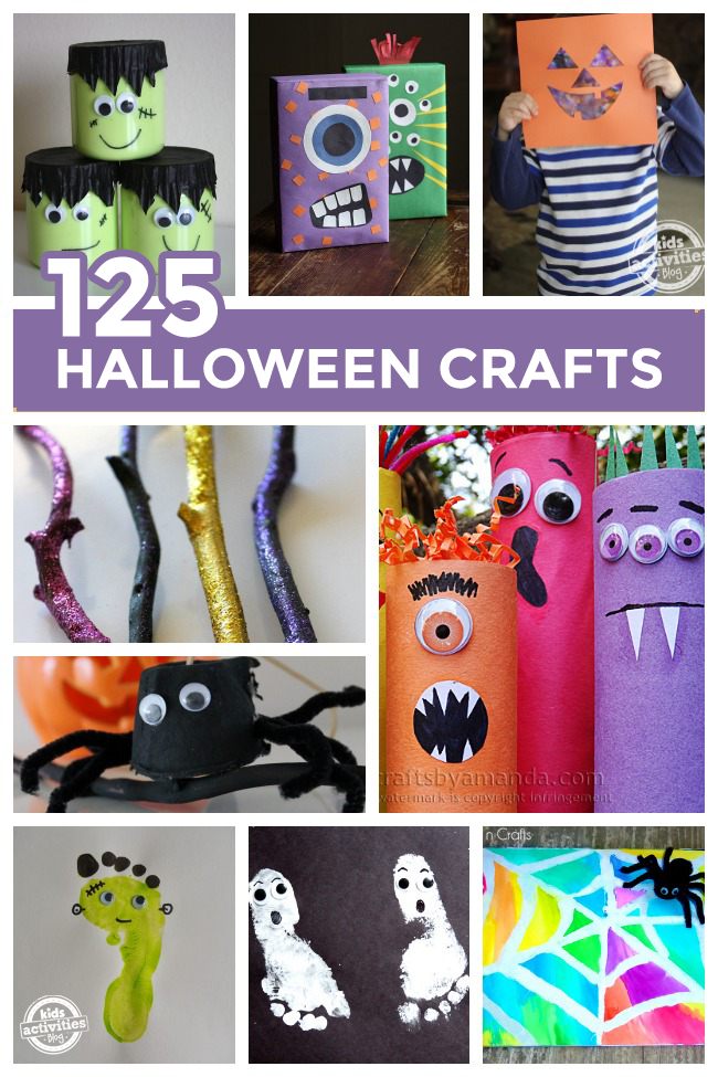 125 Halloween crafts for kids - 8 different Halloween arts and crafts projects shown including monster juice boxes, making your own magic wand and spider web art