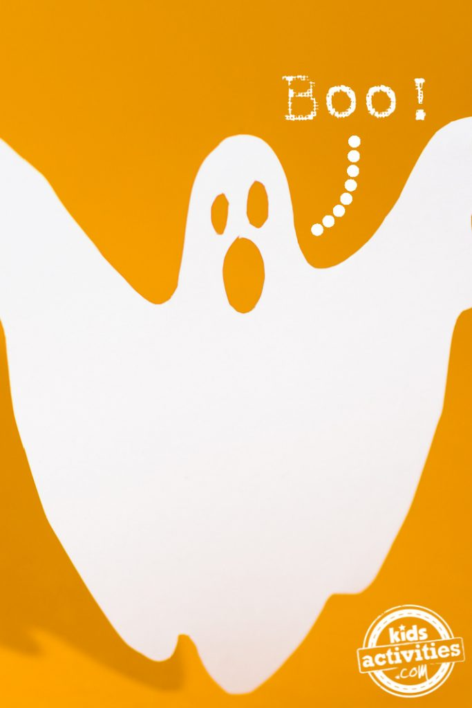 """How to Keep Kids from Being Scared on Halloween Night - Kids Activities Blog - image of a ghost with the word """"boo"""" on yellow background"""