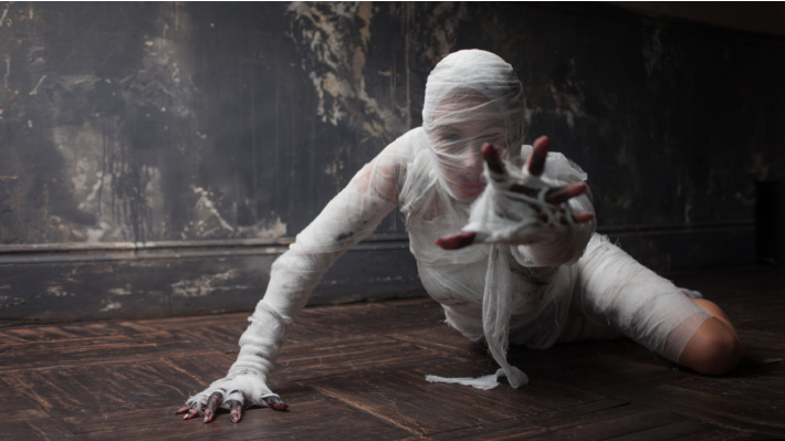 Underneath the costume is a person - Kids Activities Blog - scary costume of mummy