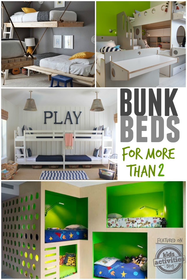 bunk beds for more than 2 kids - these bunk bed designs work for more kids 3, 4 and even more!  Think bunk room...