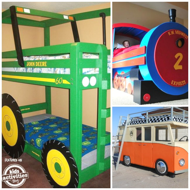 transportation themed bunk beds like tractor bunk beds, train bunks and vw bus bunk beds
