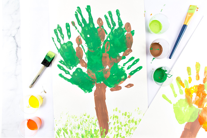 A handprint Earth Day craft made using paint.
